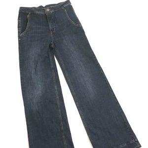Free People Women High Waist Bell Button Jeans